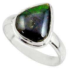 4.38cts natural ammolite (canadian) 925 silver solitaire ring size 8.5 r39411