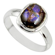4.16cts natural ammolite (canadian) 925 silver solitaire ring size 8.5 r39414