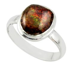 4.43cts natural ammolite (canadian) 925 silver solitaire ring size 8.5 r40242