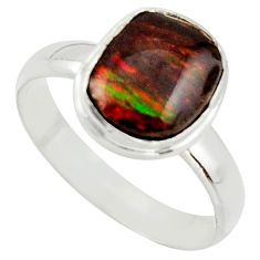 4.28cts natural ammolite (canadian) 925 silver solitaire ring size 8.5 r40243