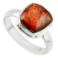 4.67cts natural ammolite (canadian) 925 silver solitaire ring size 8.5 r40246