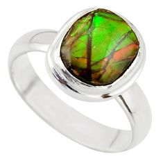 3.83cts natural ammolite (canadian) 925 silver solitaire ring size 5.5 r40252