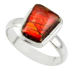 4.42cts natural ammolite (canadian) 925 silver solitaire ring size 8.5 r40253