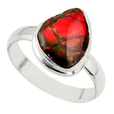 4.34cts natural ammolite (canadian) 925 silver solitaire ring size 8.5 r40259
