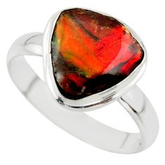 5.06cts natural ammolite (canadian) 925 silver solitaire ring size 10 r40245