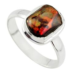 3.98cts natural ammolite (canadian) 925 silver solitaire ring size 10 r40247