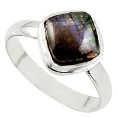 4.42cts natural ammolite (canadian) 925 silver solitaire ring size 10 r40250