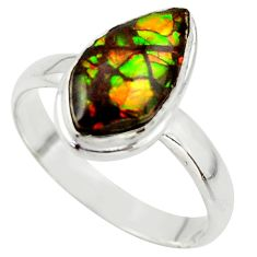 4.82cts natural ammolite (canadian) 925 silver solitaire ring size 10 r40255