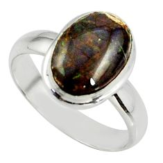 3.62cts natural ammolite (canadian) 925 silver solitaire ring size 6 r39413