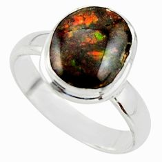 4.43cts natural ammolite (canadian) 925 silver solitaire ring size 7 r40241