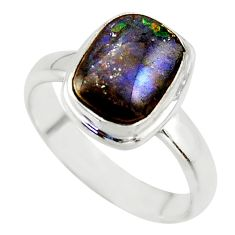 4.02cts natural ammolite (canadian) 925 silver solitaire ring size 7 r40248