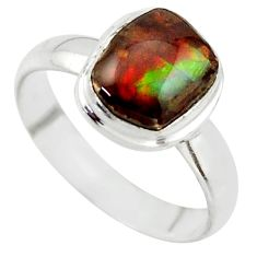 3.98cts natural ammolite (canadian) 925 silver solitaire ring size 7 r40251