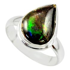 4.87cts natural ammolite (canadian) 925 silver solitaire ring size 7 r40256