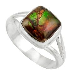4.84cts natural ammolite (canadian) 925 silver solitaire ring size 8 d47448