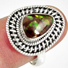 2.92cts natural ammolite (canadian) 925 silver solitaire ring size 8 r19230