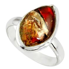 4.75cts natural ammolite (canadian) 925 silver solitaire ring size 8 r39416