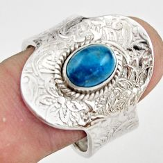 1.96cts natural apatite (madagascar) 925 silver adjustable ring size 8 r21231