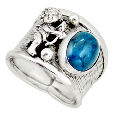 4.21cts natural apatite (madagascar) silver angel solitaire ring size 7 d45892