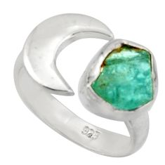 4.40cts natural apatite rough 925 silver adjustable solitaire ring size 6 d46587
