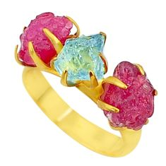 9.41cts natural aqua aquamarine raw 14k gold handmade ring size 7 t34961