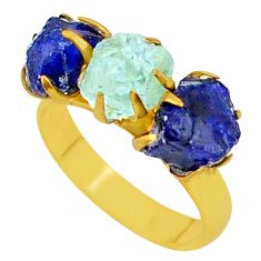 9.34cts natural aqua aquamarine raw 14k gold handmade ring size 7 t34975