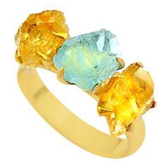 8.46cts natural aqua aquamarine raw 14k gold handmade ring size 8 t34942