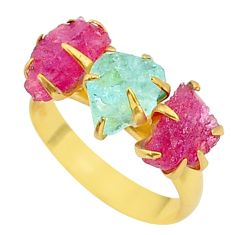 8.44cts natural aqua aquamarine raw 14k gold handmade ring size 8 t34946