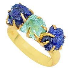 8.90cts natural aqua aquamarine raw 14k gold handmade ring size 8 t34959