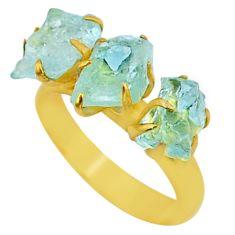 8.03cts natural aqua aquamarine raw 14k gold handmade ring size 8 t34972