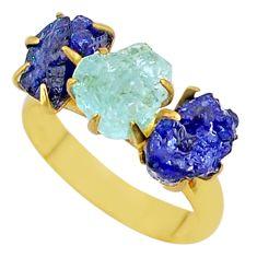 9.36cts natural aqua aquamarine raw 14k gold handmade ring size 8 t34977