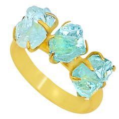 9.84cts natural aqua aquamarine raw 14k gold handmade ring size 9 t34971