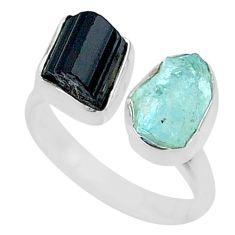 9.53cts natural aqua aquamarine rough 925 silver adjustable ring size 7 t36762