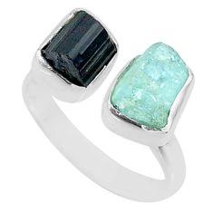 9.18cts natural aqua aquamarine rough 925 silver adjustable ring size 7 t36767
