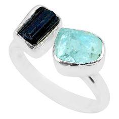 9.59cts natural aqua aquamarine rough 925 silver adjustable ring size 9 t36765
