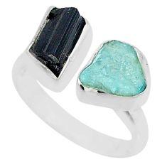 9.18cts natural aqua aquamarine rough 925 silver adjustable ring size 7.5 t36761