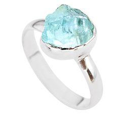 4.34cts natural aqua aquamarine raw 925 silver solitaire ring size 10 t25402