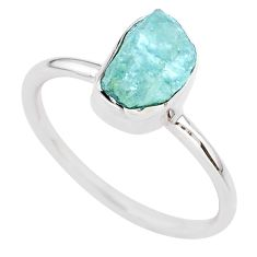 3.98cts natural aqua aquamarine raw 925 silver solitaire ring size 10 t25406