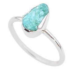 5.75cts natural aqua aquamarine raw 925 silver solitaire ring size 11 t25413