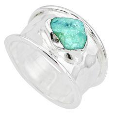 4.19cts natural aqua aquamarine raw 925 silver solitaire ring size 6 r76803