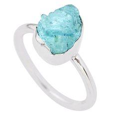 3.43cts natural aqua aquamarine raw 925 silver solitaire ring size 6 t25420