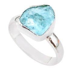 5.22cts natural aqua aquamarine raw 925 silver solitaire ring size 7 t25418