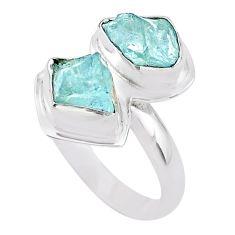 7.50cts natural aqua aquamarine raw 925 silver solitaire ring size 8 t25387
