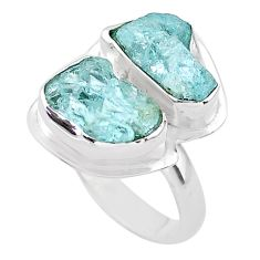 10.41cts natural aqua aquamarine raw 925 silver solitaire ring size 8 t25400