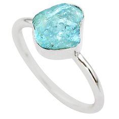3.40cts natural aqua aquamarine raw 925 silver solitaire ring size 8 t25410