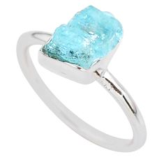 4.18cts natural aqua aquamarine raw 925 silver solitaire ring size 8 t25411