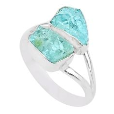 7.62cts natural aqua aquamarine raw 925 silver solitaire ring size 9 t25389