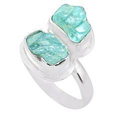9.86cts natural aqua aquamarine raw 925 silver solitaire ring size 9 t25396