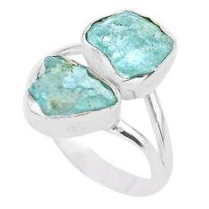 8.77cts natural aqua aquamarine raw 925 silver solitaire ring size 9 t25398
