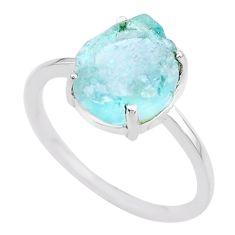 4.29cts natural aqua aquamarine raw 925 silver solitaire ring size 9 t25698