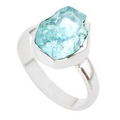 4.62cts natural aqua aquamarine raw 925 silver solitaire ring size 7.5 t25417